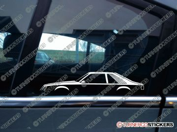 2x Car Silhouette sticker - Ford Mustang 1979-1986 fox body hatchback
